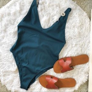 NWT Teal Ribbed One Piece Swimsuit